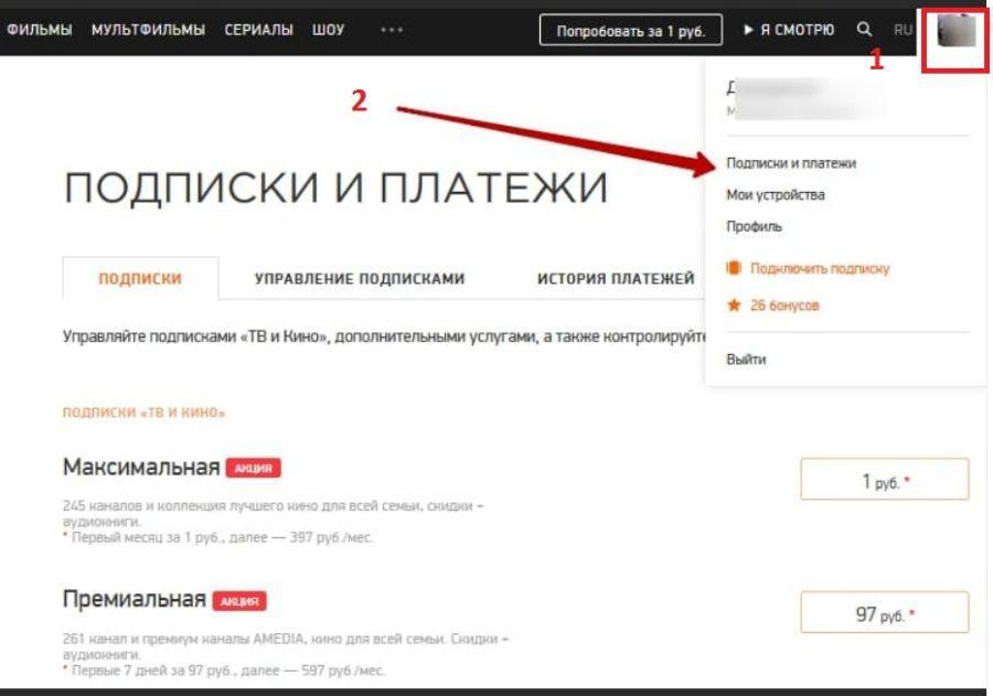управление подписками на сайте мегого